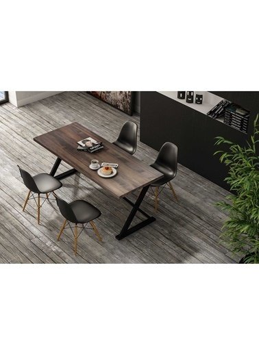 Woodesk Rıhtım Masif Venge Renk 200x80 Yemek Masası CPT7321-200 Kahve